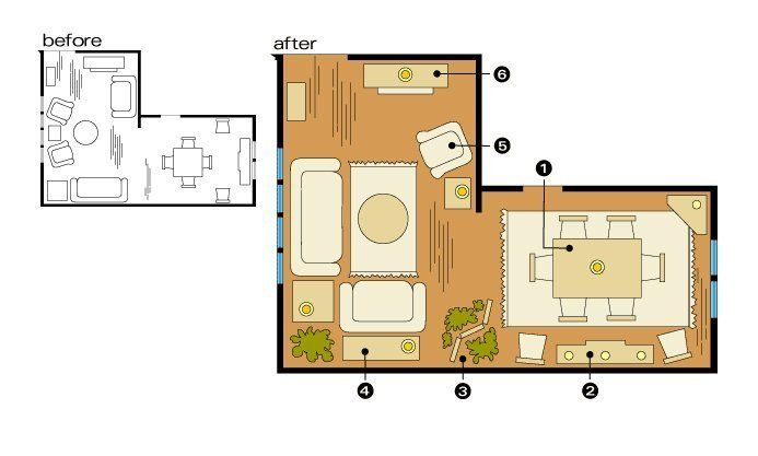 How To Optimize Typical Rental Layouts The L Shaped Living Dining Area Dining Room Layout Furniture Placement Living Room Livingroom Layout