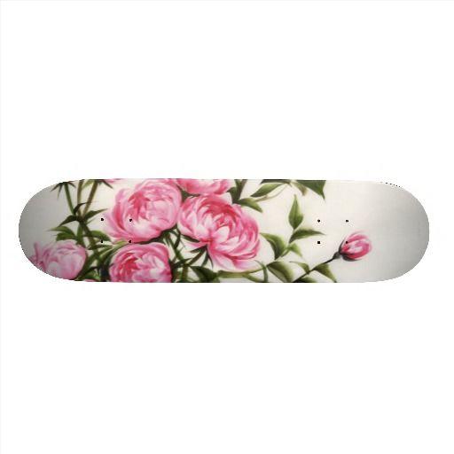 Peonies Skateboard Deck Zazzle Com Skateboard Decks Skateboard Girl Skateboard Design