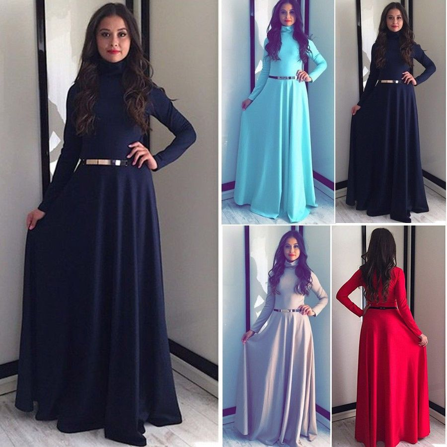 90bb432a2df Kaftan Abaya Islamic Muslim Burqa Women Long Sleeve Turtleneck Maxi Dress  S-Xl