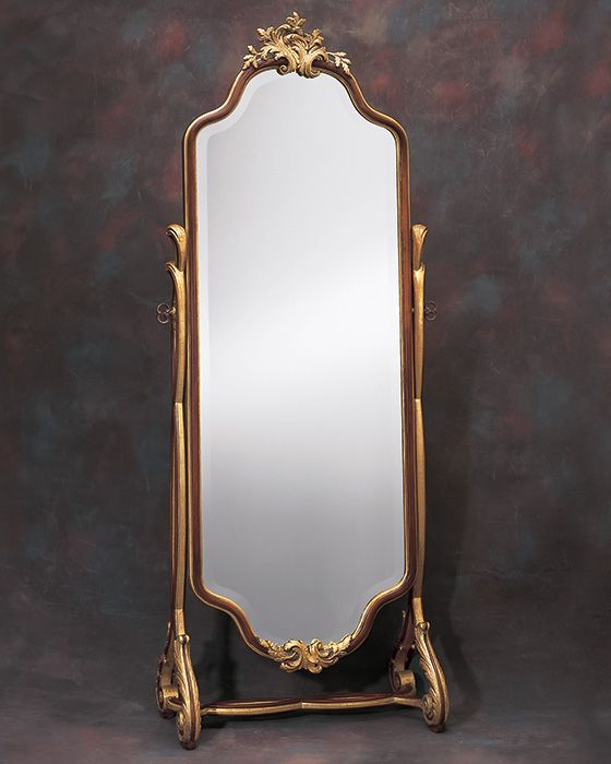 Floor Mirror Mirror Floor Mirror Or Cheval Mirror With Leaf And Scrolls Design In Antiqued