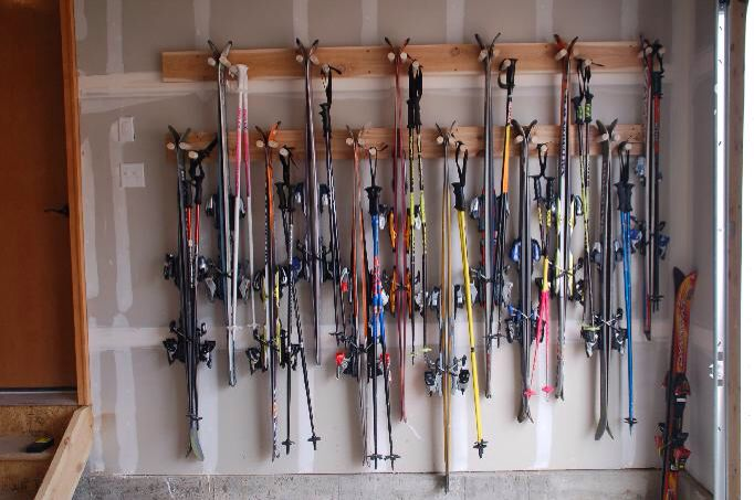 Double Ski Rack Space Saver Mountain Home Garage