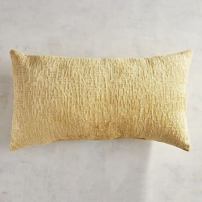 gold chenille decorative throw pillow