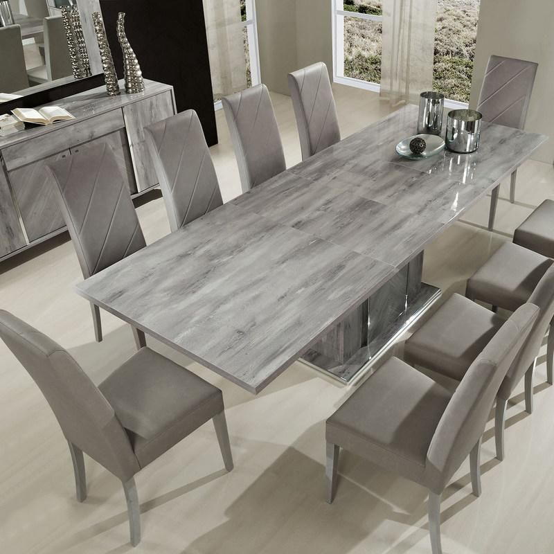 Alexa Rectangular Extendable Table 8 Chair Set In Stunning High Gloss Grain Grey Itali Grey Dining Tables Dining Table Design Modern Grey Dining Room Table