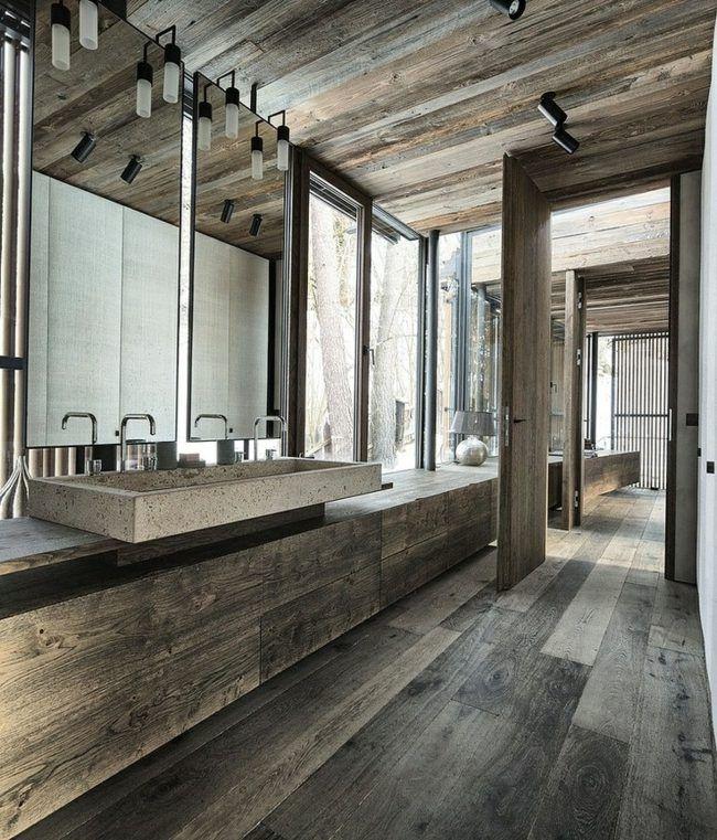 Badezimmer Holz Boden Belag Badmöbel Spiegel Architecture - badezimmer aus holz