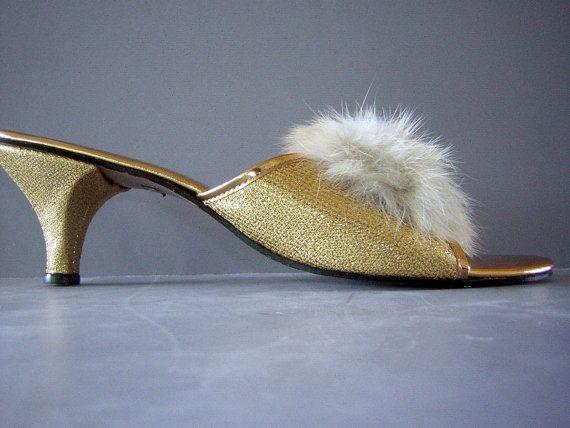 966dc220d324a Vintage 60s Fur Pom Pom & Golden Bedroom Slippers Kitten Heels ...