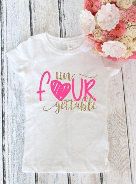 c71a856f134b6 Un Four Gettable 4th birthday t-shirt - Fourth Birthday Shirt -4th birthday  outfit - 4th Birthday T