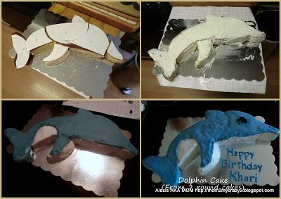 Dolphin Cake Easy Step By From 2 Round Cakes