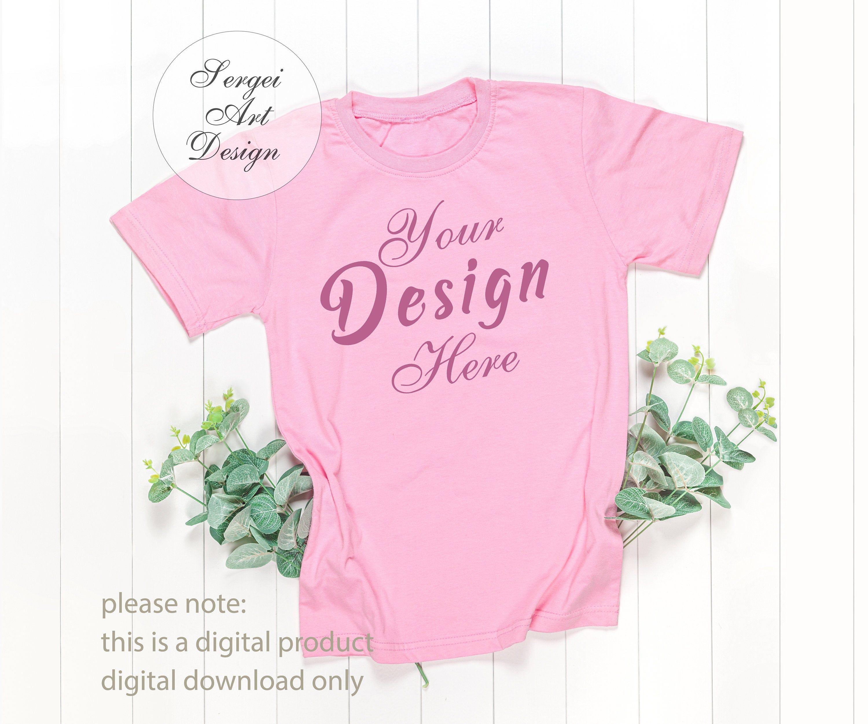 Download Pink T Shirt Mockup On White Background Unisex T Shirt Mock Etsy In 2020 Styled Stock Photos Shirt Mockup Pink Tshirt