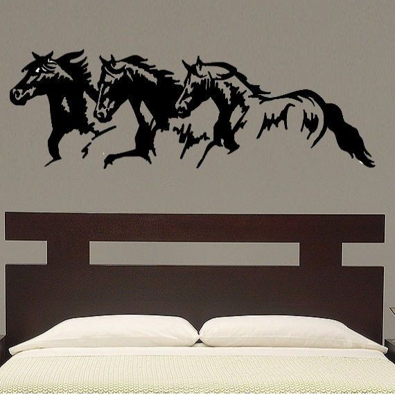 horse trio vinyl wall decal art - | products | wall decals, horse