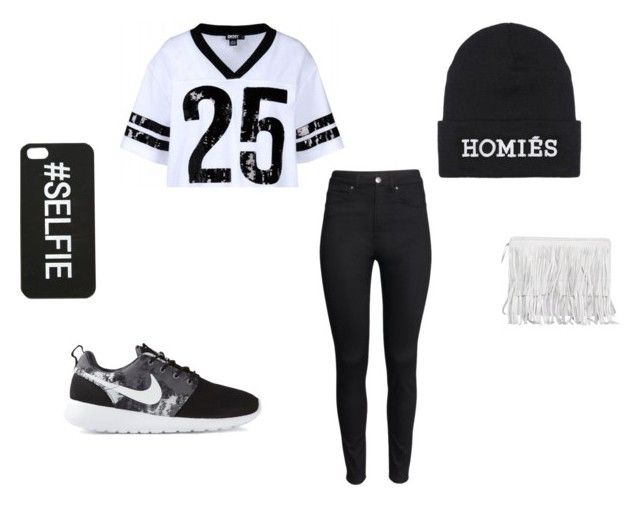 """""""black and white"""" by kamildanva ❤ liked on Polyvore featuring DKNY, H&M, Brian Lichtenberg and NIKE"""