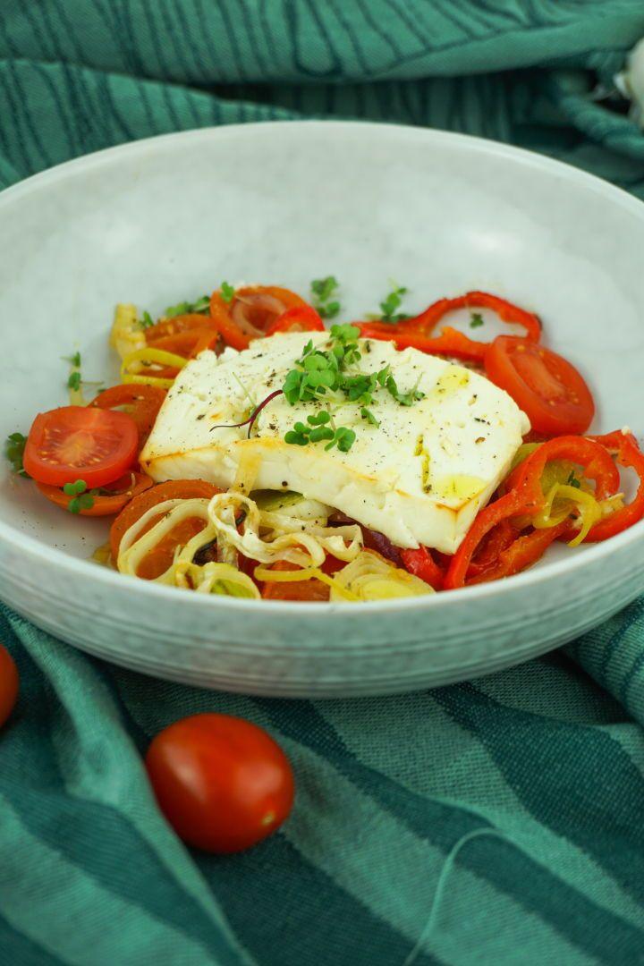 Ofen Feta mit Gemüse - Gesundes, vegetarisches Low Carb Rezept #lowcarbyum