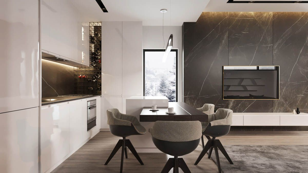 masculine interiors in shades of grey black and brown house