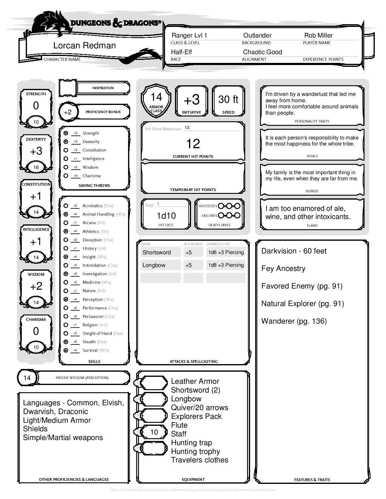 Half Elf Ranger 1 3 D Amp D5e Completed Character Sheet