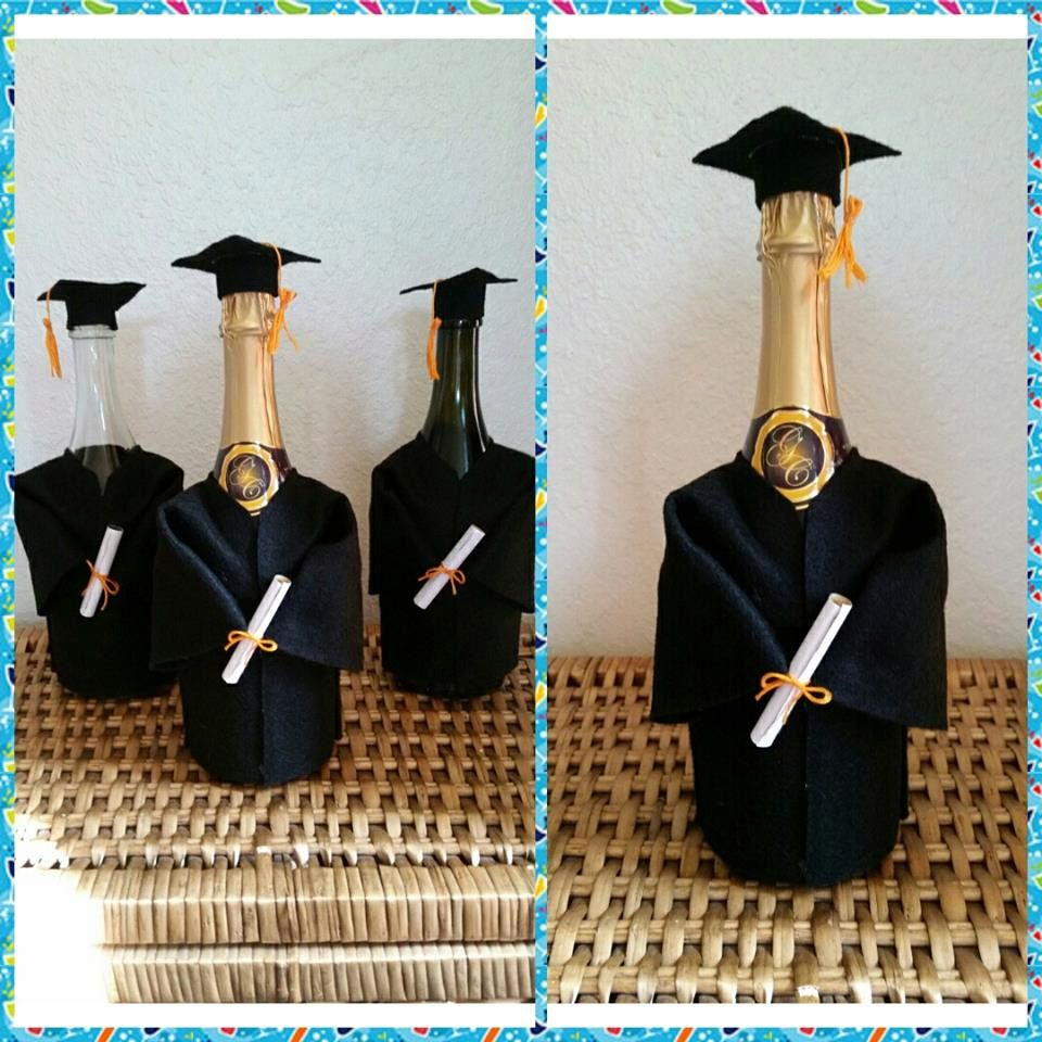 Graduation Cap and Gown Champagne Bottle Cover w/ Tassel and Diploma