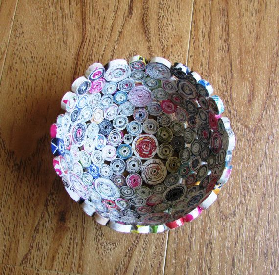 recycled magazine bowls basket unikat home decor eco friendly recycling 1st anniversary. Black Bedroom Furniture Sets. Home Design Ideas