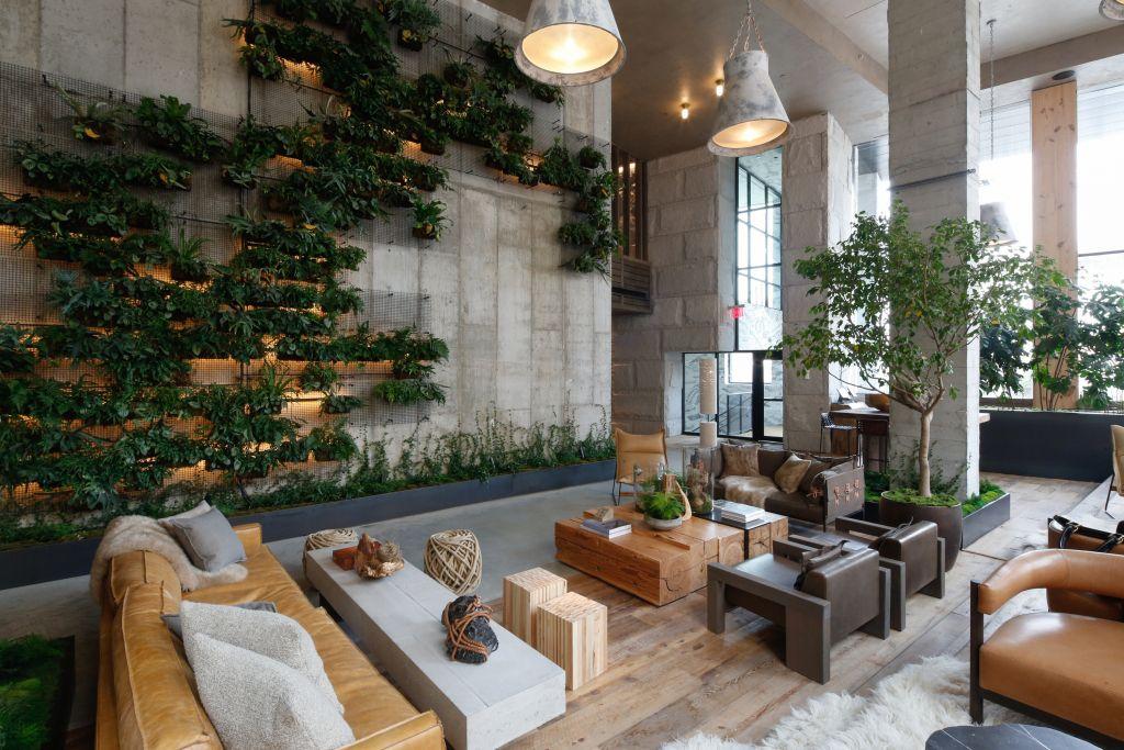 The Lobby Of The 1hotel Brooklyn Bridge Hotel Lobby Design Vertical Garden Indoor Hotel Foyer