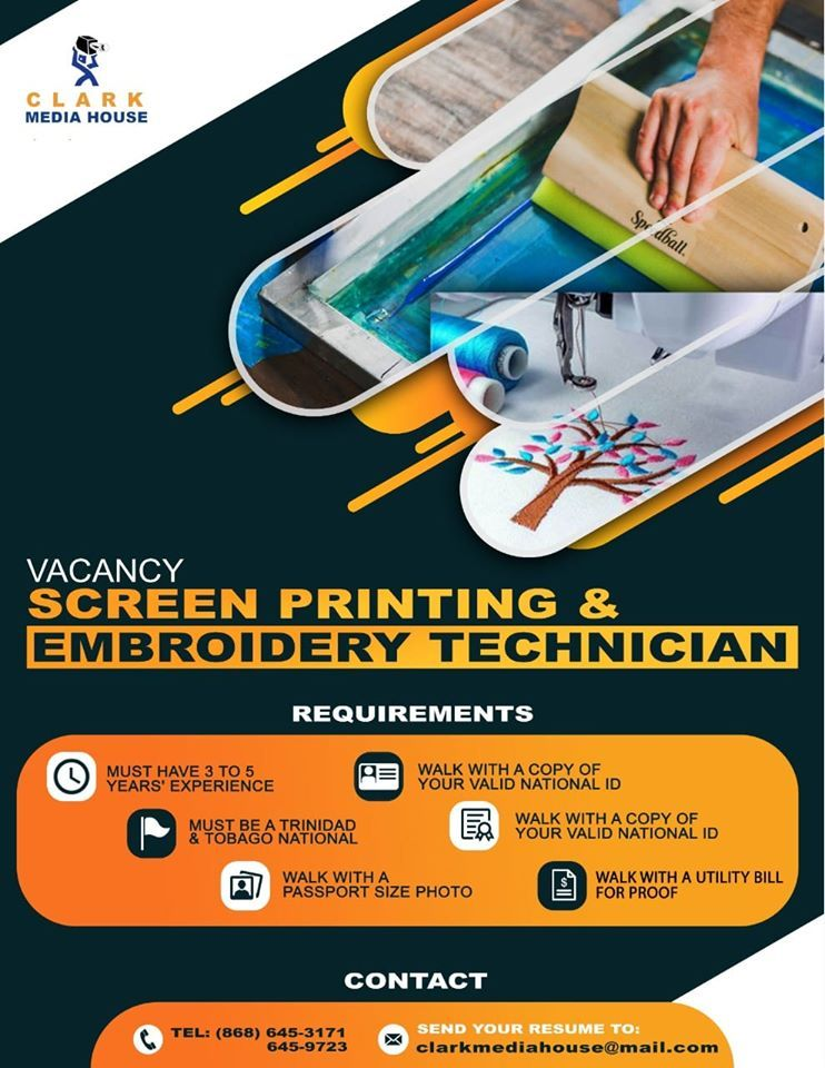 Screen printing and embroidery technician in 2020