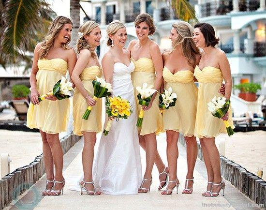 Yellow White Silver Wedding Party Dresses