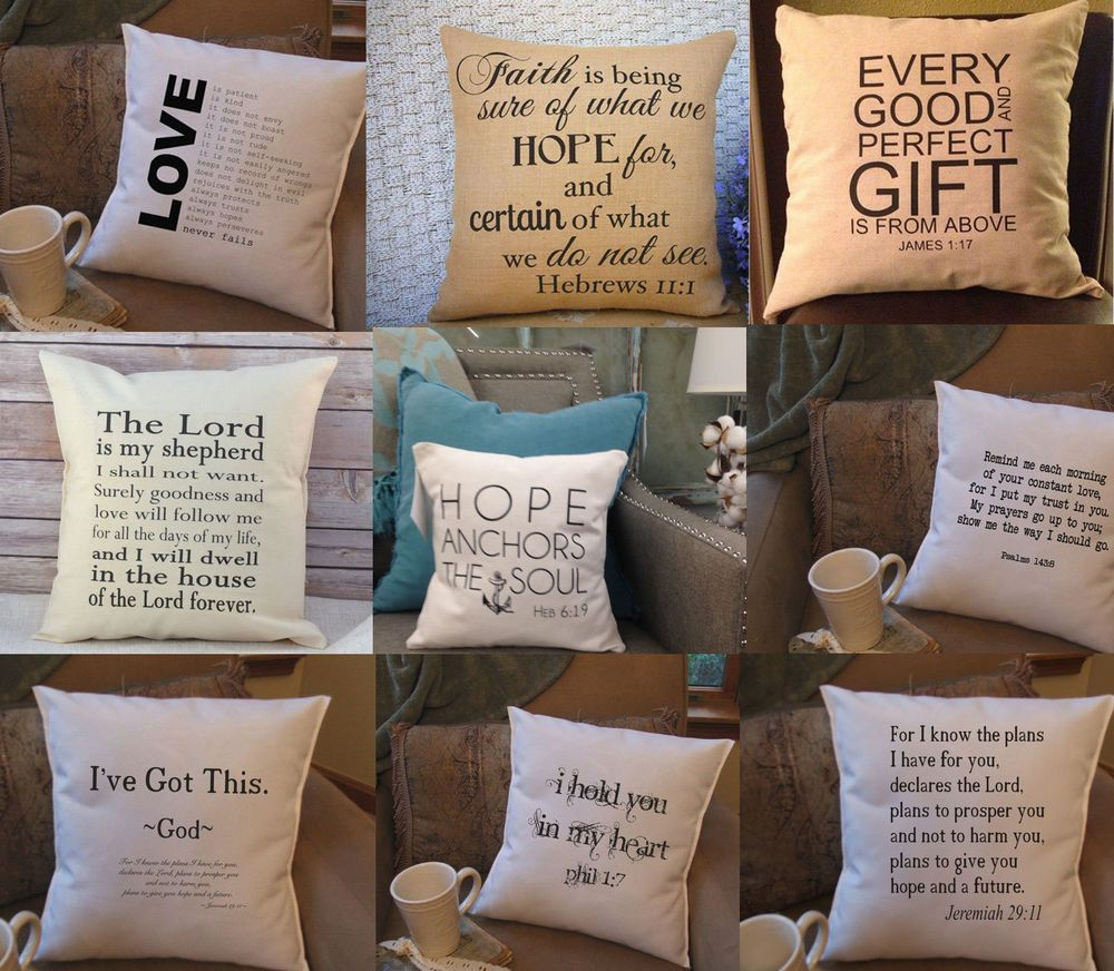 Bible Scripture Word Quote Throw Pillow Cushions Cover