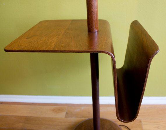 RESERVED   Mid Century Modern Laurel Bentwood Walnut Floor Lamp Magazine  Rack Floating Table Danish Style C1960