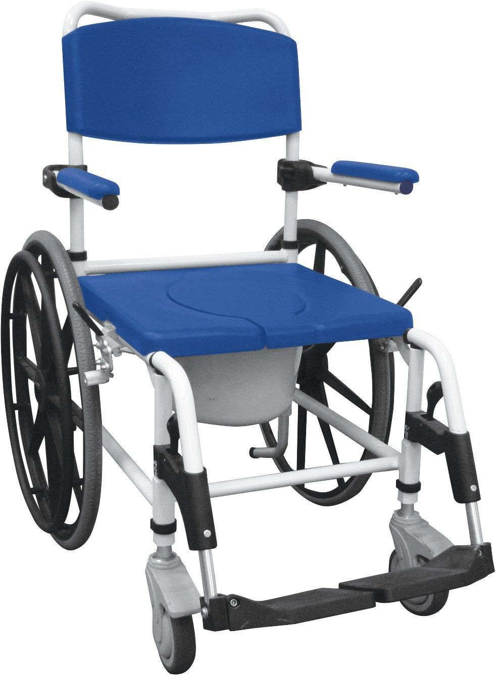 """The Aluminum Shower Commode Mobile Chair with 24"""" rear"""