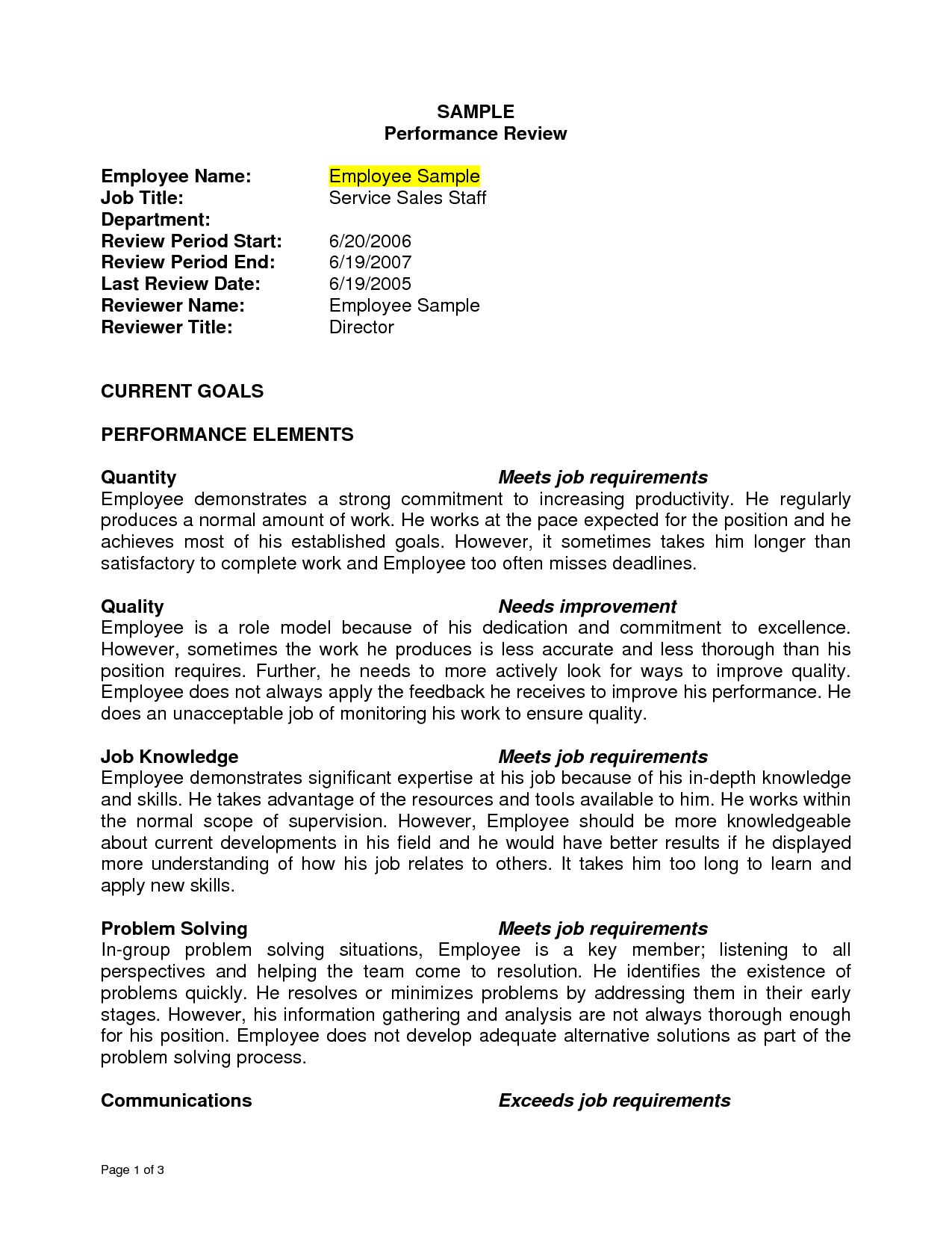 Performance Resume Example Sample Performance Review Sample Performance Review