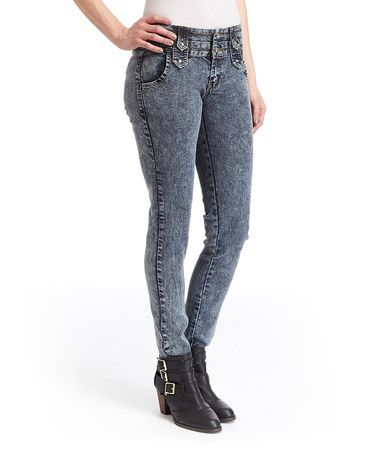 Another great find on #zulily! Gray Acid Wash Skinny Jeans #zulilyfinds