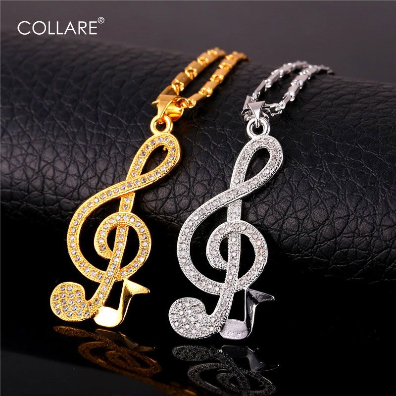 Collare Musical Notation Pendant Goldsilver Color Crystal Cubic