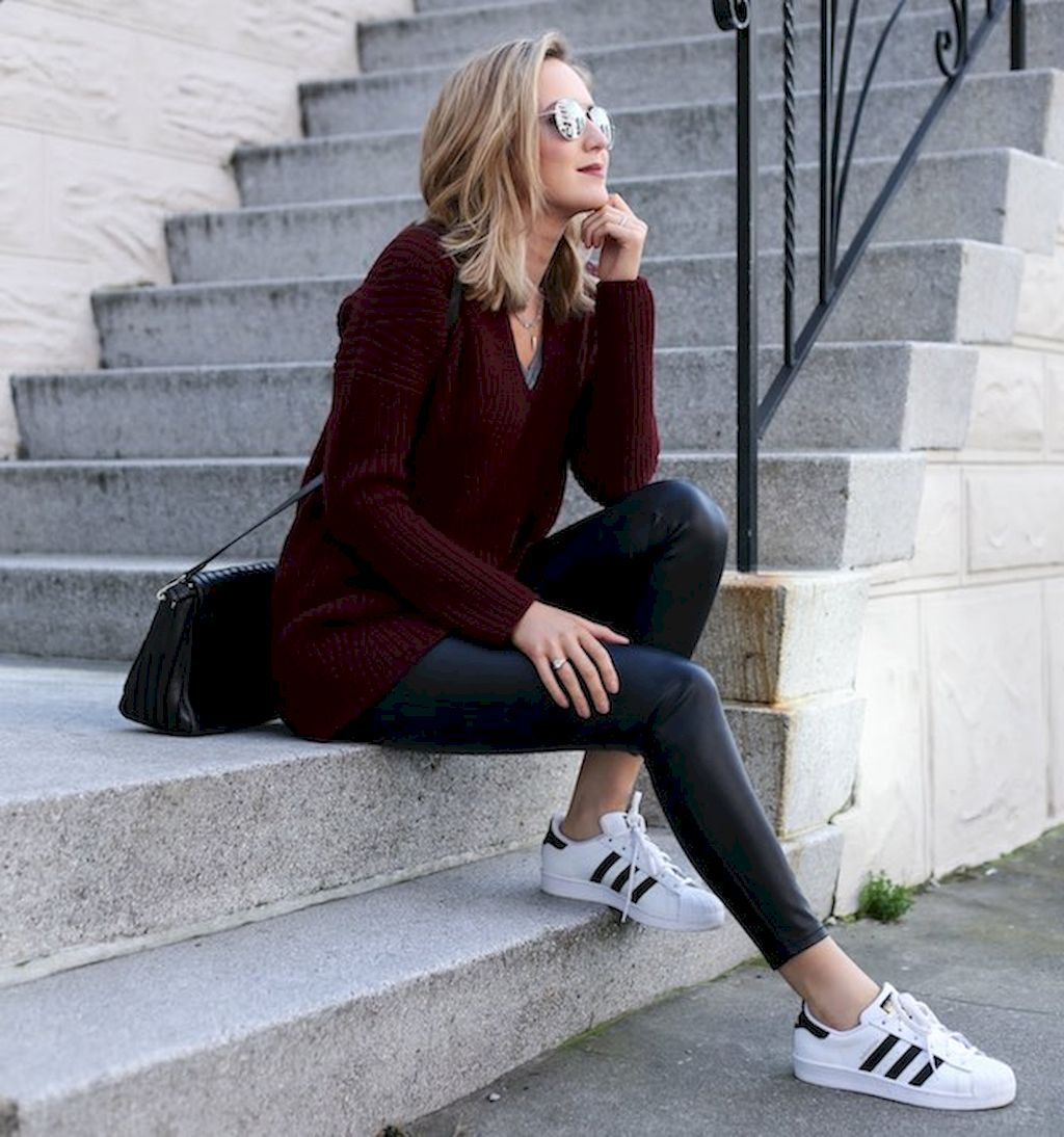 50+ Cute Outfit Ideas for Winter with Leather Legging