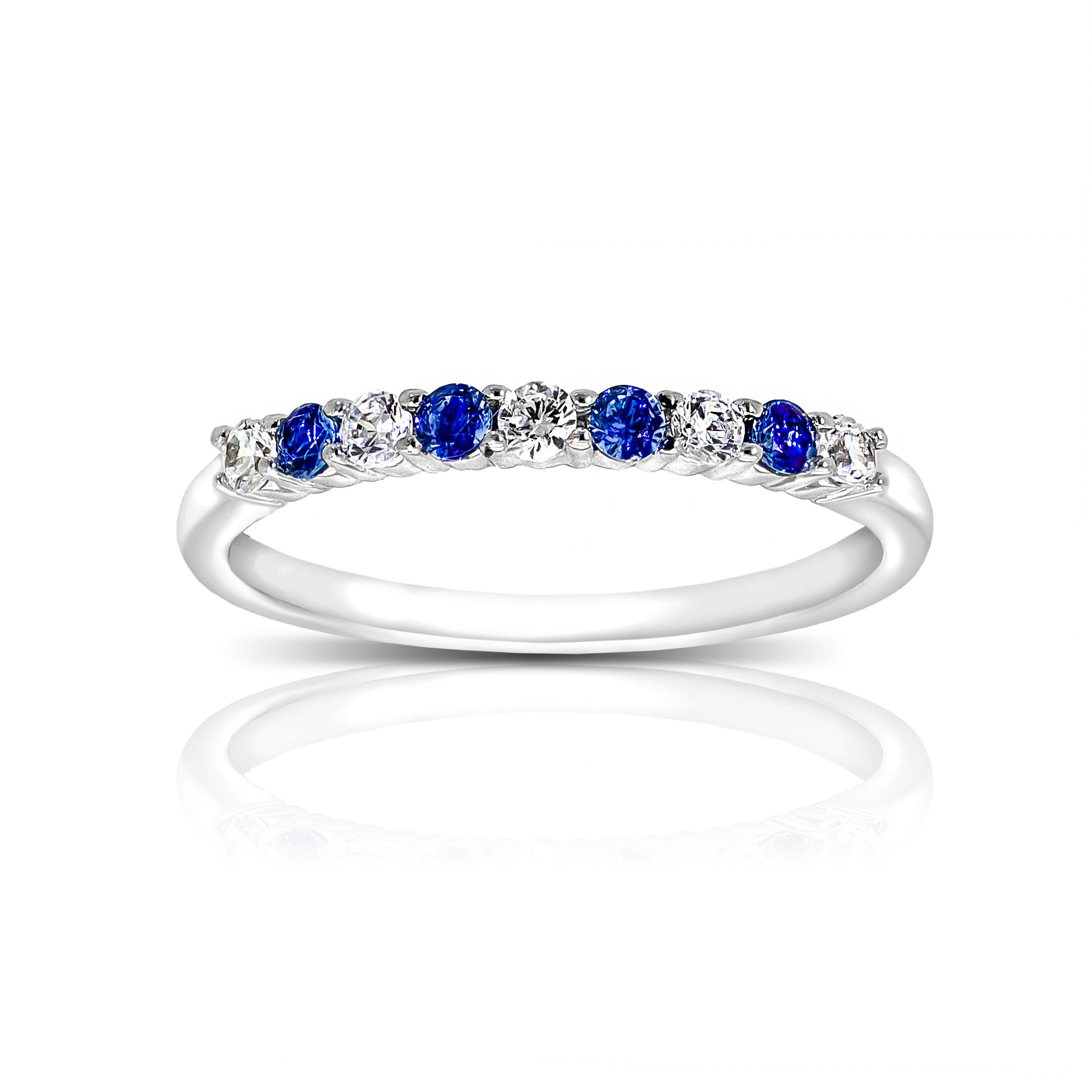 Blue Sapphire And Diamond Gemstone Ring In 10k White Gold Diamond Gemstone Gemstone Rings White Gold Rings