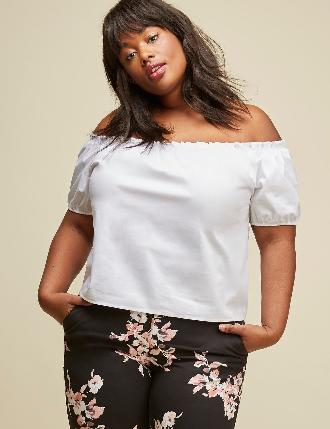 8f9c01c751237 Off-the-Shoulder Poplin Cropped Top by GLAMOUR X LANE BRYANT (original  price