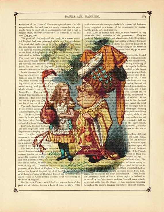 ART PRINT ON ORIGINAL ANTIQUE BOOK PAGE tattoo Alice queen of hearts Dictionary
