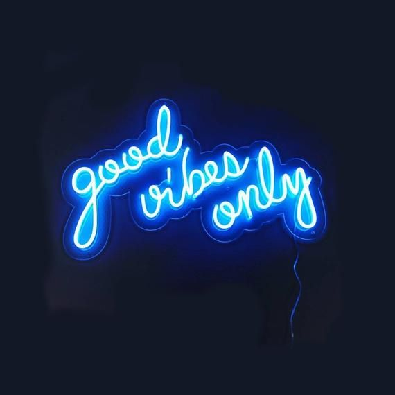 Good Vibes Only Neon Home Decor Neon Sign Office Neon Sign Etsy Neon Signs Light Blue Aesthetic Neon Quotes Cool blue neon wallpaper