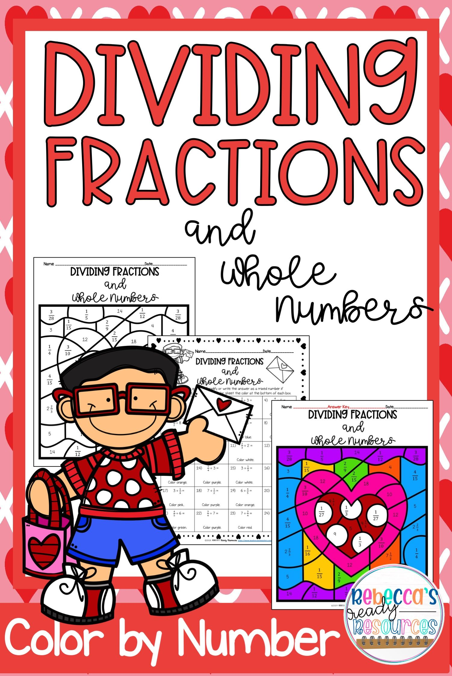 Dividing Fractions And Whole Numbers Color By Number