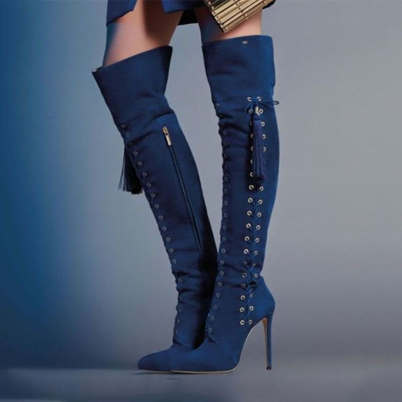 Thigh High Boots Womens High Heel Over Knee High Boot Stiletto Heel Booties Pointed Toe Zipper Shoes