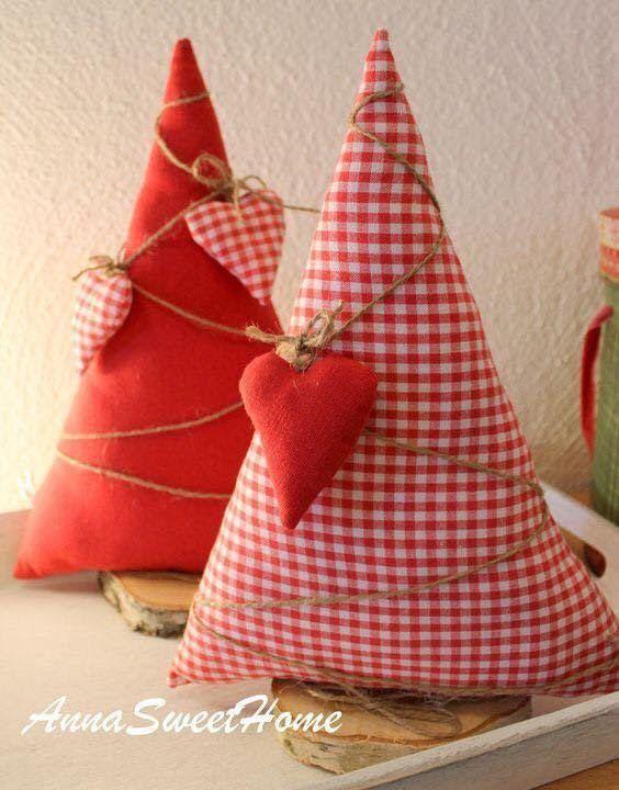 Arbolitos o pinos navide os con tela dale detalles - Adornos navidenos tela ...