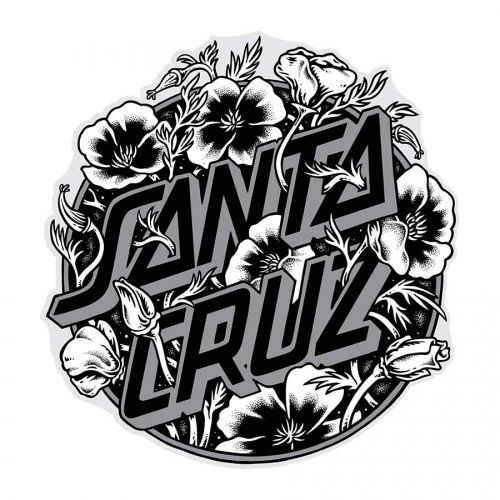 Santa cruz skateboards santa cruz cali poppy dot 3 sticker