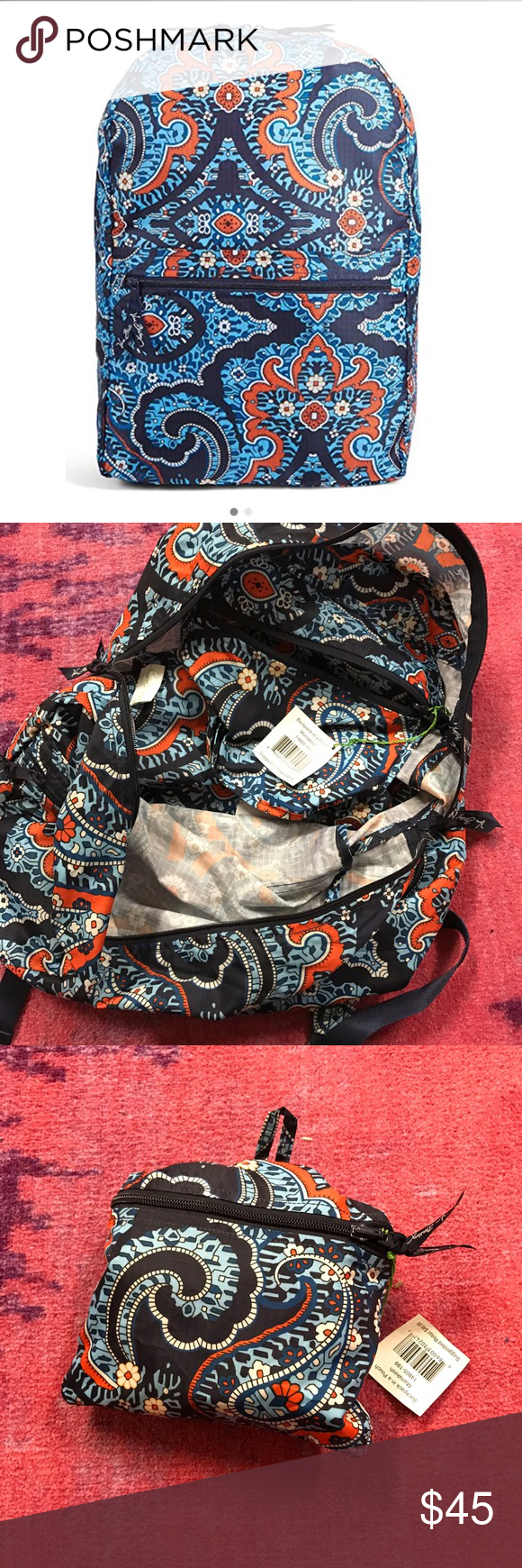 Vera Bradley Backpack in a Pouch Marrakesh NWT Vera Bradley. NWT Marrakesh print. Bag folds into a pouch. Perfect for travel Vera Bradley Bags Backpacks