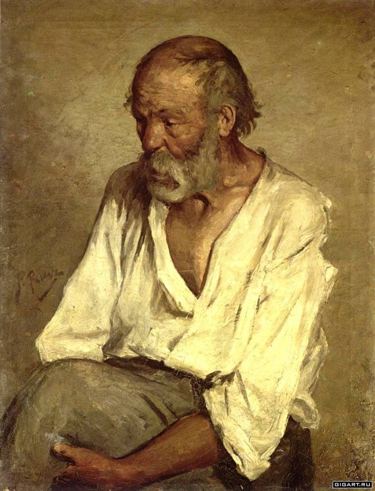 """The Old Fisherman"" (1895), by Pablo Picasso. Oil on Canvas; Montserrat Abbey, Barcelona; his early work. A portrait of Manuel Salmeron Castellano, a sailor from Motril who was hired by Salvador Ruiz Blasco as a model for his nephew Pablo ✏✏✏✏✏✏✏✏✏✏✏✏✏✏✏✏  ARTS ET PEINTURES - ARTS AND PAINTINGS  ☞ https://fr.pinterest.com/JeanfbJf/pin-peintres-painters-index/ ══════════════════════  Gᴀʙʏ﹣Fᴇ́ᴇʀɪᴇ ﹕☞ http://www.alittlemarket.com/boutique/gaby_feerie-132444.html ✏✏✏✏✏✏✏✏✏✏✏✏✏✏✏✏"