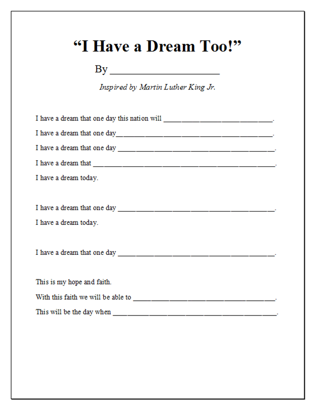 pictures i have a dream too worksheet beatlesblogcarnival - I Have A Dream Essay Examples