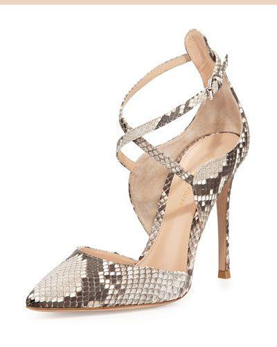 f3c60f8d7 S0AQK Gianvito Rossi Crisscross Python Point-Toe Pump | Shoes ...