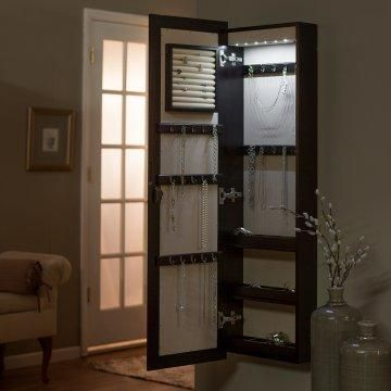 Lighted Wall Mount Locking Jewelry Armoire Gifts for Her