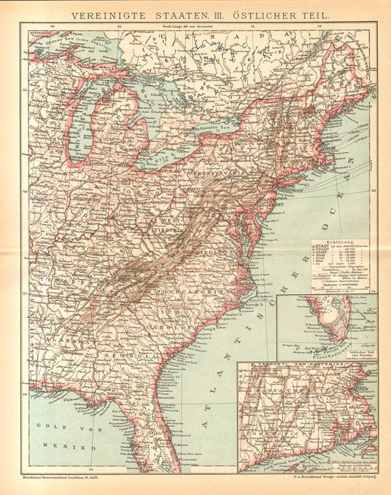 1896 Original Antique Map of the Eastern Part of the United States ...