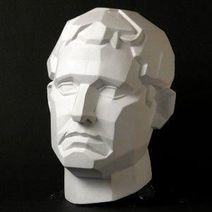 drawing plaster cast male face planar natural pigments pencil