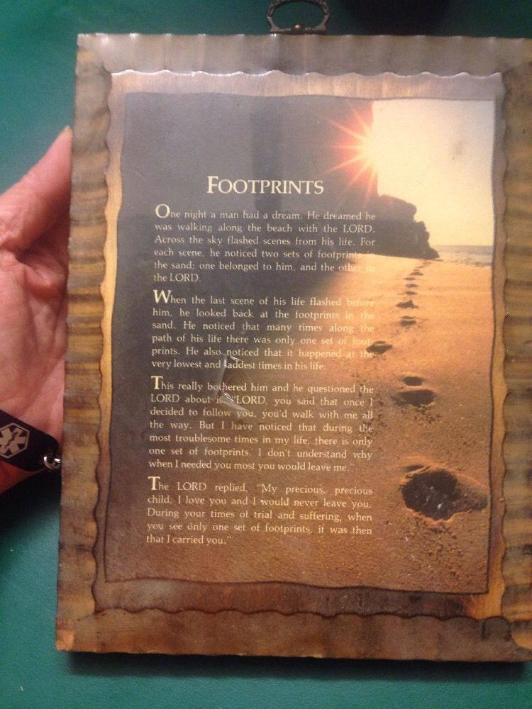 Foot prints in the sand beach scene christian poem wall art 8.5\