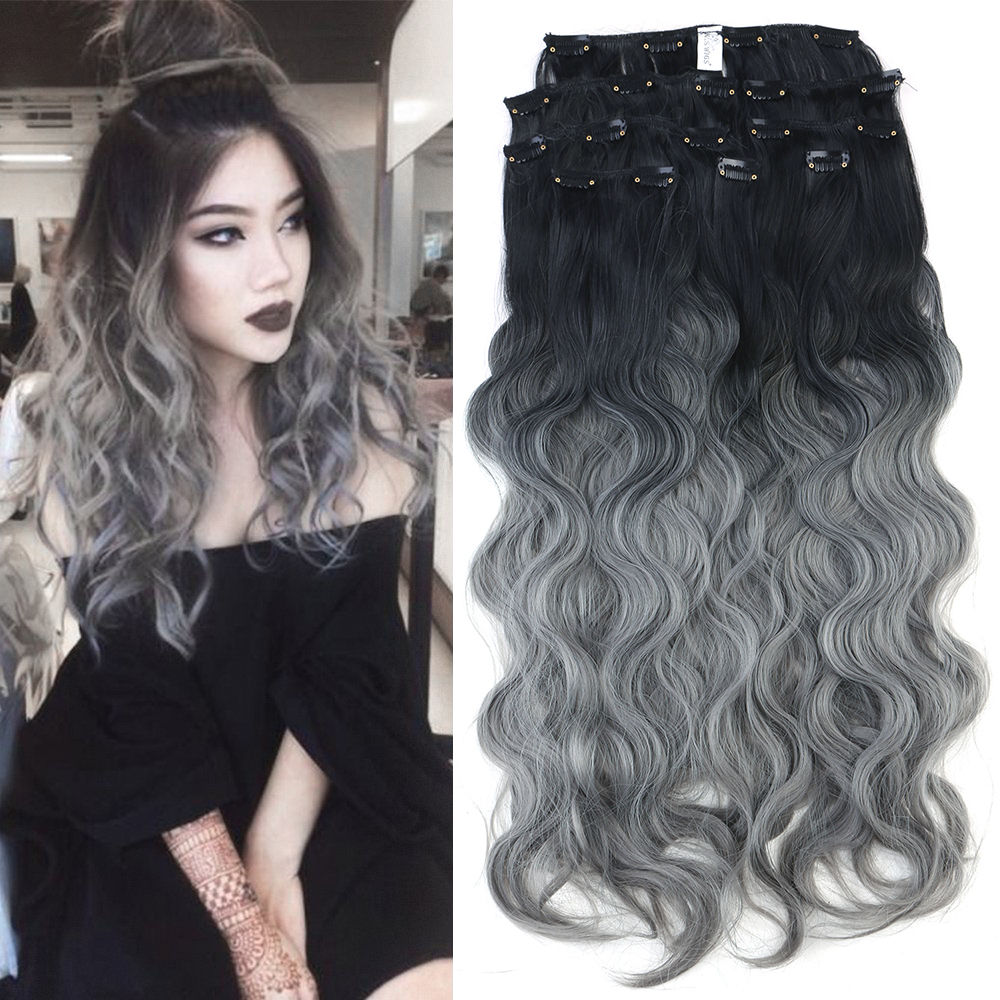 Neitsi 24 8pcs Long Curly Clip In Synthetic Hair Extensions Ombre