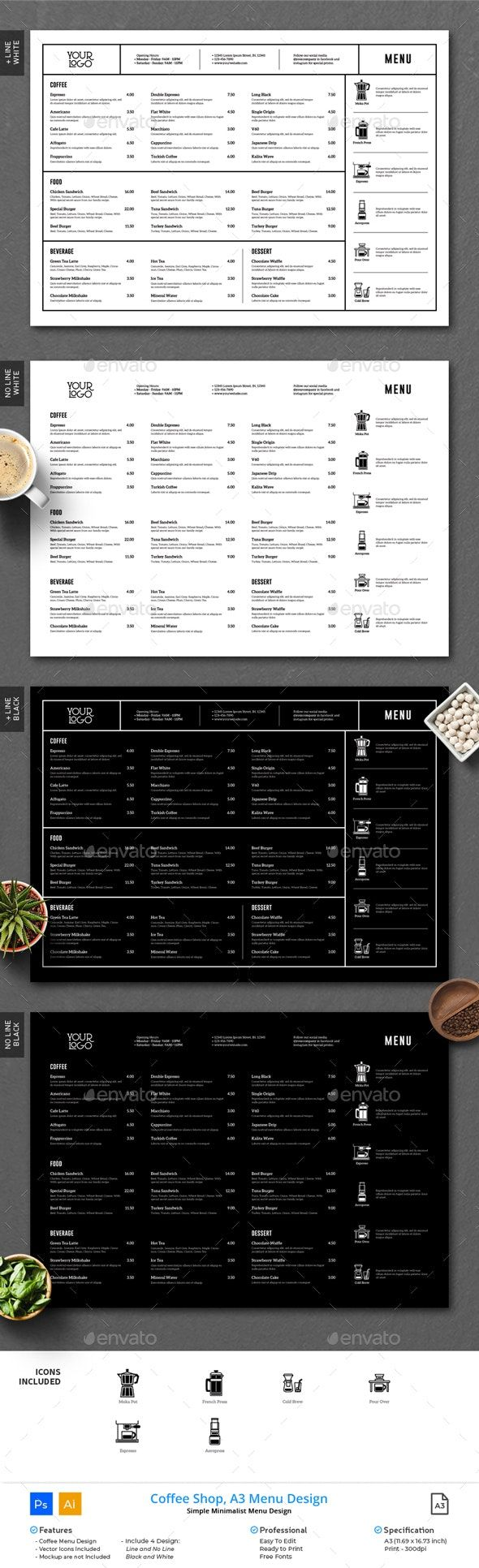 Coffee Minimalist Menu Clean A3 Menu Design Menu Design Layout Restaurant Menu Design