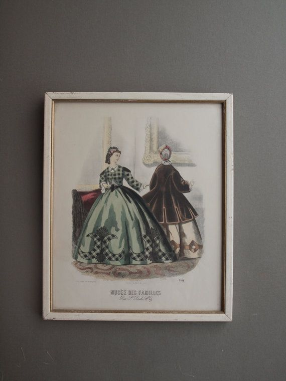 French Fashion Print Musee Des Familles Framed Country Comtesse De Moeriss 2184 Elegant Powder