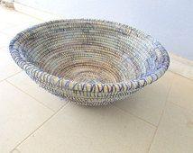 Zen Bowl, Wicker Basket, African Wool Basket,  giant plate, handmade natural home decor