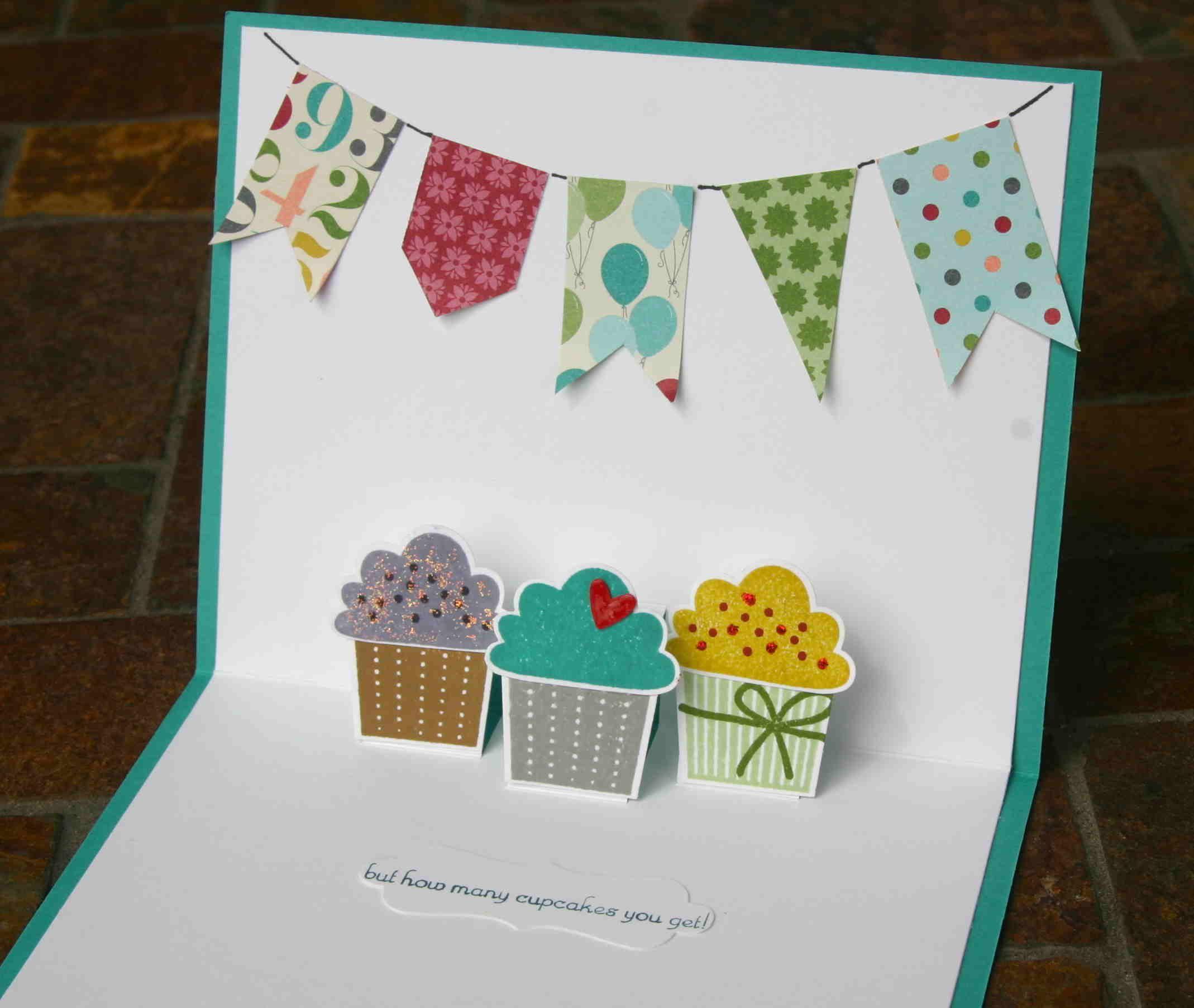 Diy Pop Up Birthday Card W Cupcakes Cupcake Birthday Cards Birthday Card Craft Birthday Cards Diy